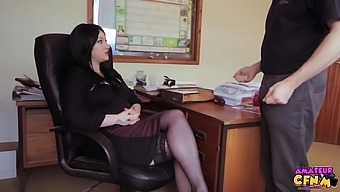Brunette Amateur Harmony Reigns Helps Her Boss Cum With A Bj