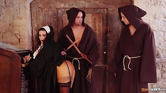 Threesome Fucking With A Sexy Nun Ends With A Double Facial