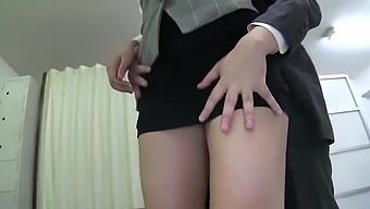 Pretty Lady Get Cream On Subway In Blue Silk Satin Skirt Fnk 024