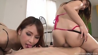 Yui Ooba And Her Stunning Friend Team Up To Pleasure A Lucky Dude