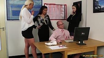 Horny Slut Alessa Savage And Her Friends Pleasure Their Boss