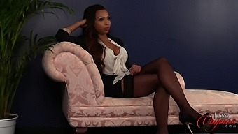 Ebony Hottie Ruby Summers Watches A White Guy Stroking His Penis