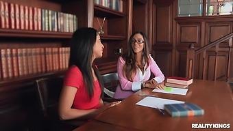 Lewd Library Behavior With Bodacious Gals Giselle Leon And Ariella Ferrera