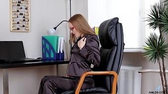 Solo Secretary Sabrina Moor Moans While Masturbating At Work