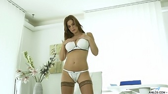 Busty Secretary Carol Gold Plays With Her Tits And Wet Pussy