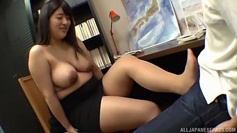 Busty Japanese Model Ayukawa Miku Gets Her Tits Licked While Stroking