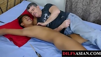Bound Asian Twink Feet Tickled By Dilf Before Bareback Sex