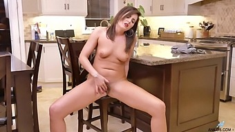 Small Tits Cougar Helena Price Moans While Masturbating In The Kitchen