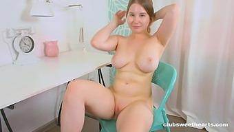 Busty Hottie Amalia Davis Strips Down And Masturbates On A Chair