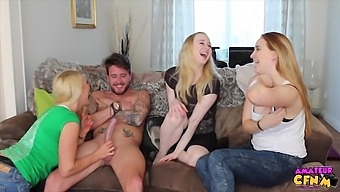 Tattooed Guy Gets His Cock Pleasured By Gf Anna Darling And Friends