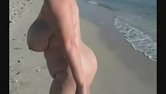 Samantha 38g Walking Around On A Nude Beach