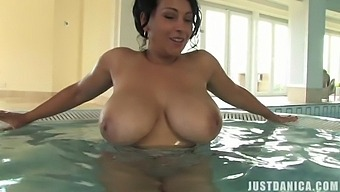 Busty Cougar Danica Collins Loves Playing With Her Cunt In The Pool