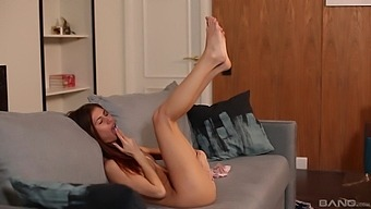 Sweet Russian Teen Eva Fire Moans While Fingering Her Pussy