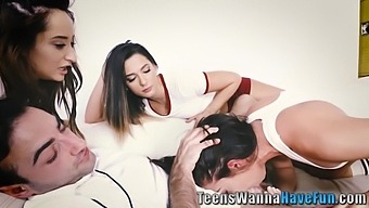 Real Teenage Brunettes Suck Ride And Jerk