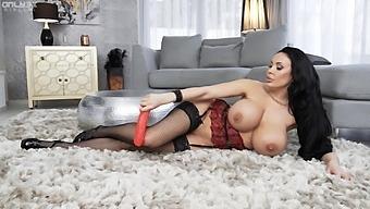 Solo Hottie Anastasia Doll Has Fun With Sex Toys On The Floor