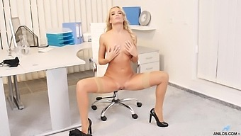 Hot Ass Blondie Victoria Pure Takes Off Her Clothes In The Office