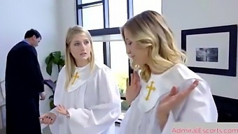 Escorts With Priest, Church Girls Having Fun