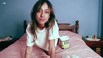 Busty Popcorn Lover Camila Luna Prefers Her Naughty Fingers