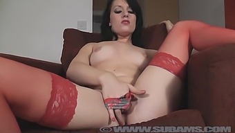 Amateur Brunette Jasmine Lau In Red Stockings And Lingerie