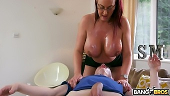 Busty Mature Redhead Emma Butt Takes A Giant Younger Dick In Her