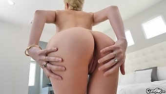 Sweet Blonde Chick Skye Blue Moans While Riding A Large Dick
