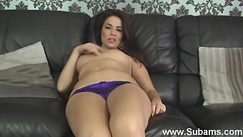 Cute Brunette Ava Takes Off Her Jeans To Masturbate On The Sofa