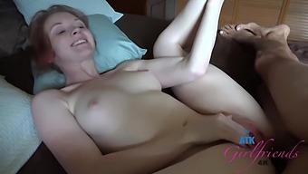 Athena Rayne Is Giving A Sensual Footjob To A Horny Guy She Likes A Lot