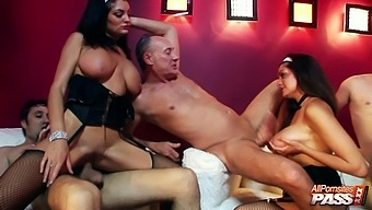 Kit Lee And Her Friends Get Talked Into Sharing Big Stiff Cocks