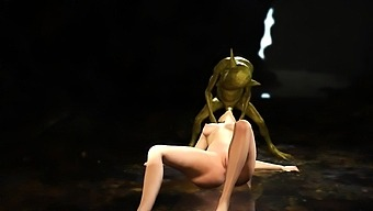Green Monster Boggles Fucks Hard A Young Queen In The Cave