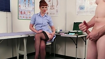 Red-Haired Nurse Zoe Page Watches Male Client Jerking Off
