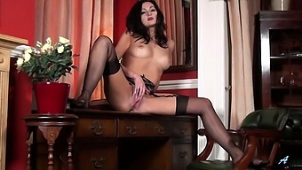 Sexy Brunette Bonnie Bellotti In Stockings And Lingerie Having Fun