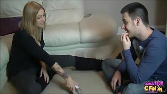 Blonde Cutie Kate Santoro Drops On Her Knees For A Cock-Meat Sandwich