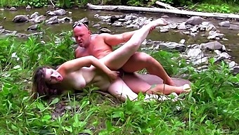 Foxy Babe Alexandra Drops On Her Knees To Suck And Ride In Outdoors
