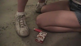 Marie Madison Smokes And Sucks In Public Bathroom