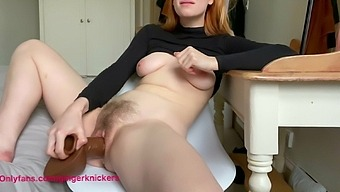 Gingerknickers - Hairy Ginger Fucks Herself With Bbc Dildo