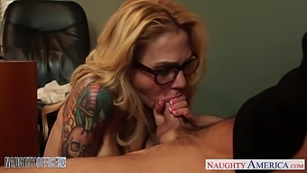 Busty Tattooed Blonde Boss Sarah Jessie Is Nailed Hard On The Table