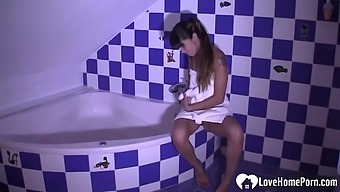 Horny Stepsister Masturbates While Taking A Shower