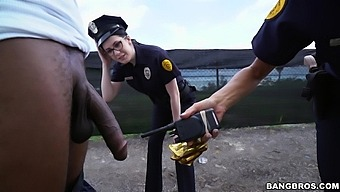 Horny Police Officers Lyla Lali And Norah Gold Fucked By A Black Dude