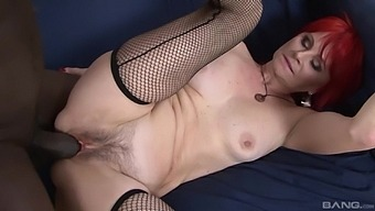 Redhead Mature Amanda Rose Opens Her Legs To Ride A Black Cock