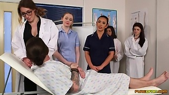 Clothed Nurses Share Cock By Sucking It In A Row