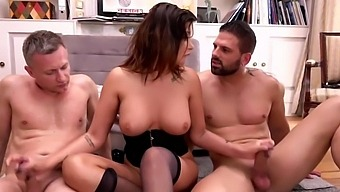 Mature Woman In Stockings Is Into A Powerful Double Penetration - Anna Polina