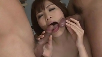 Tomoka Sakurai Acts Nasty On Two Cocks In Sleazy Scenes