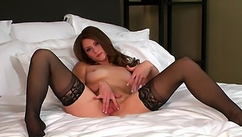 Cute Brunette Shae Snow In Stockings Pokes Her Pussy And Moans