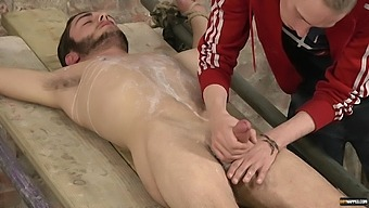 Horny Dude Tied Up A Friend Before Jerking Off His Hard Shaft