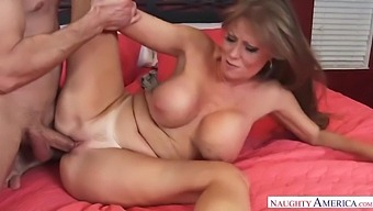 Busty 50-Year-Old Milf Darla Crane Punishes An Insolent Thief And Takes His Big Cock