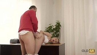 Oldie Fucks Pretty Blondie While His Wife Is On A Business Trip