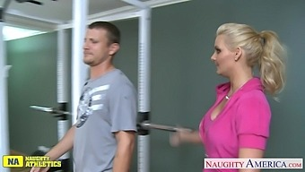 Blond Babe Phoenix Marie Is Riding Hard And Big Cock Of One Athletic Guy