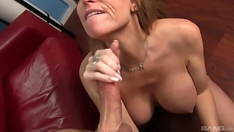 Busty Mature Darla Crane Gives A Sloppy Blowjob To A Lucky Dude