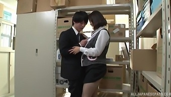 Cute Japanese Coworker Misaki Kanna Pleasures A Dick In The Storage Room