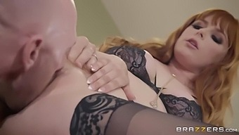 Johnny Sins And Penny Pax In Red-Haired Hottie Bends Down To Invite Dude Into Her Ass